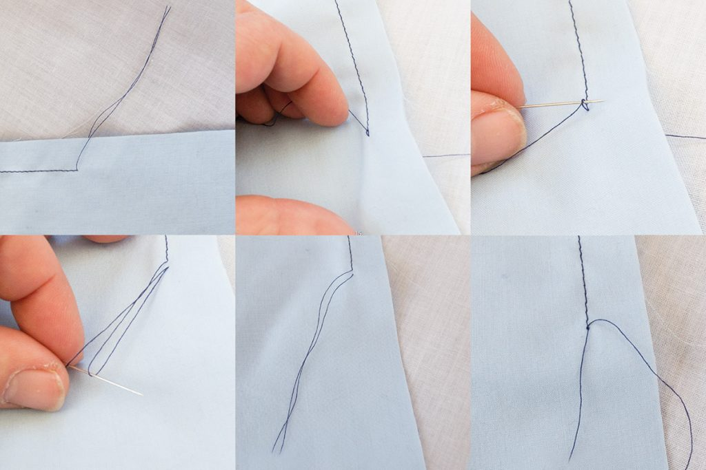 Tying loose threads on the wrong side of fabric