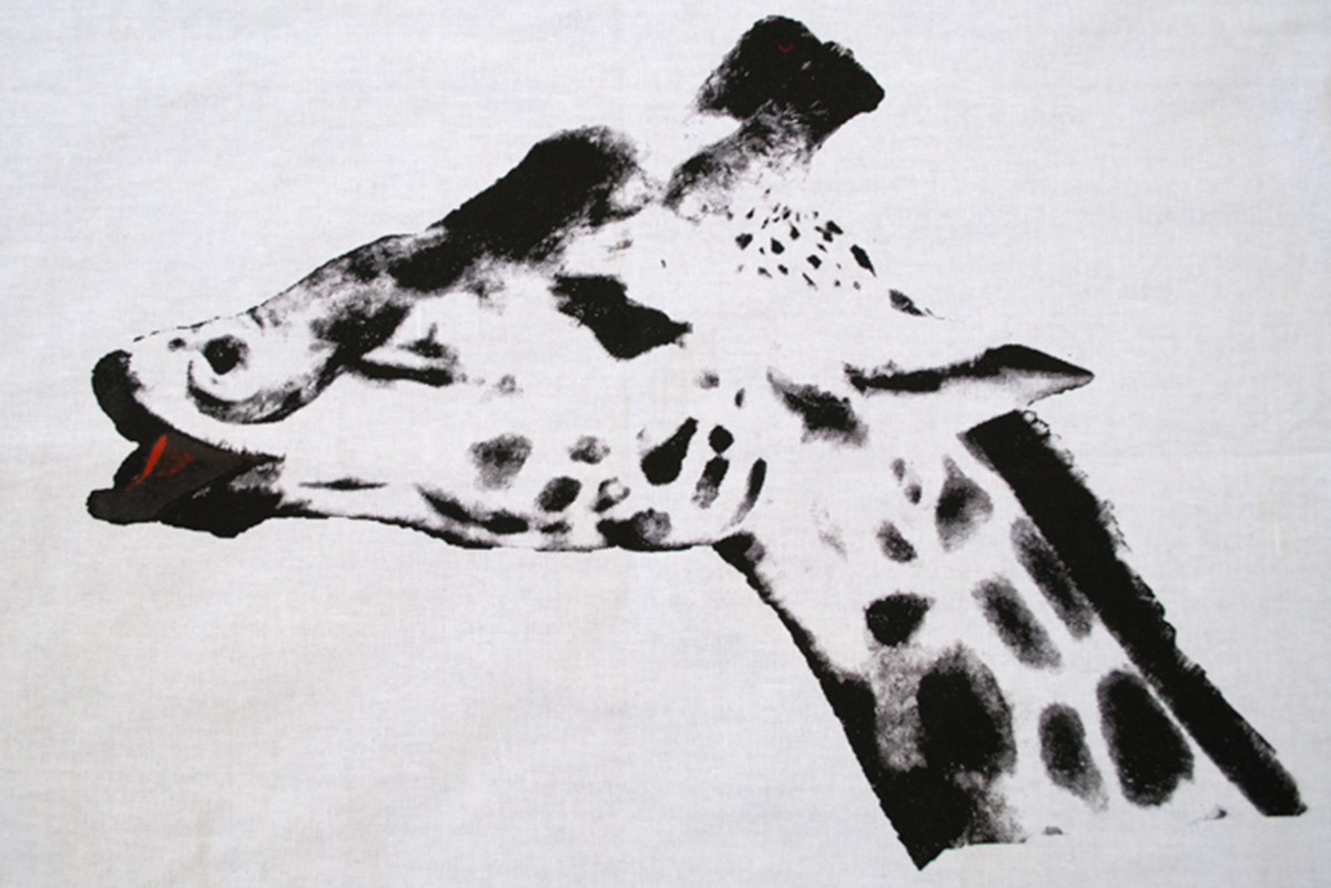 screen print of a giraffe