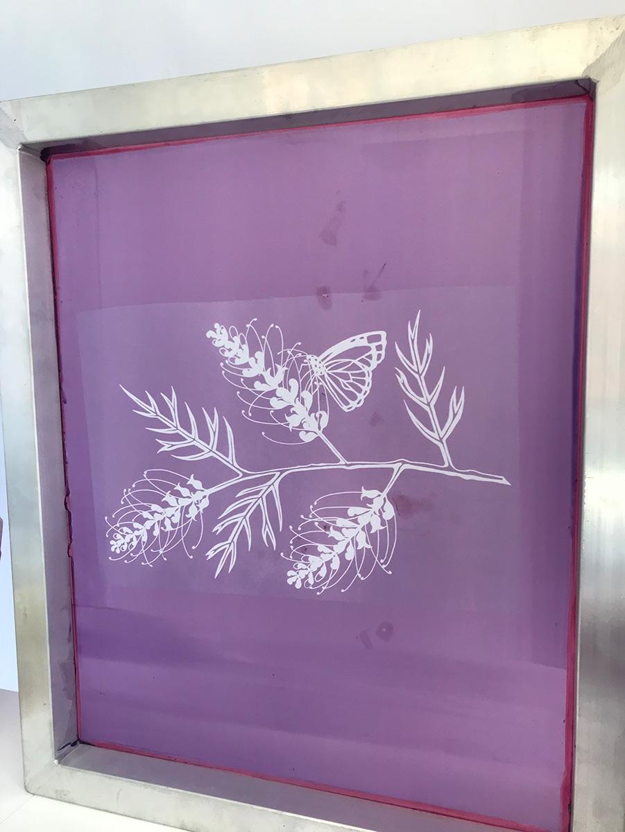 grevillea design as photo emulsion screen printing stencil