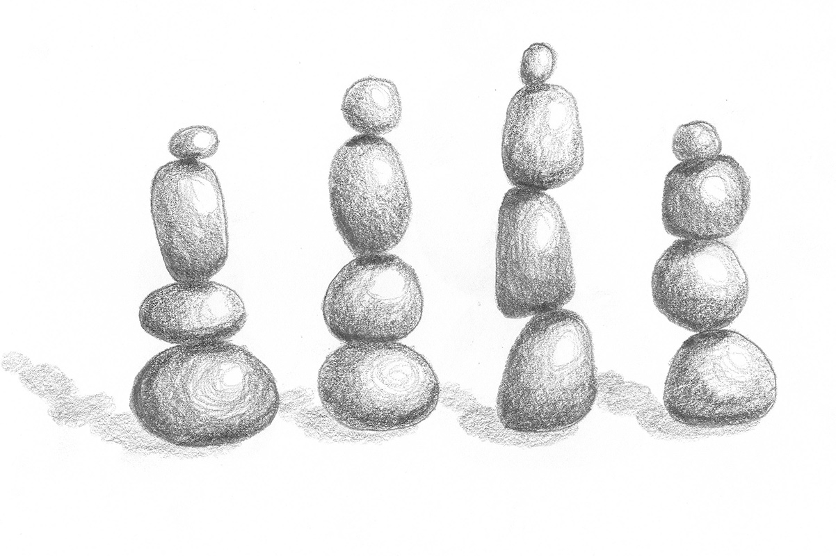 drawing of stacked stones
