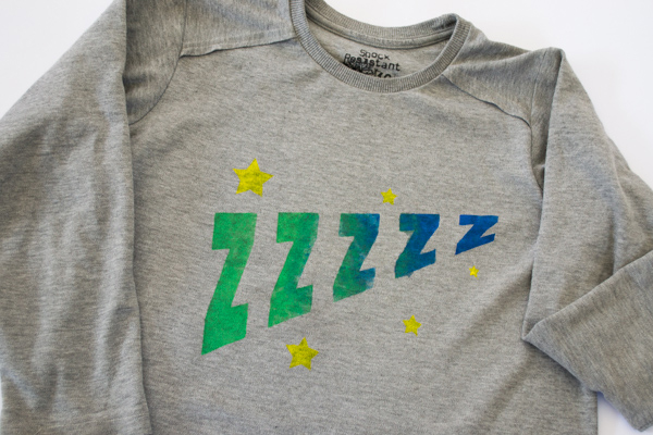 freezer paper stencilled t-shirt